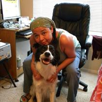 Catherine with Marlowe Kirk, a rescue dog_6177629631130978050