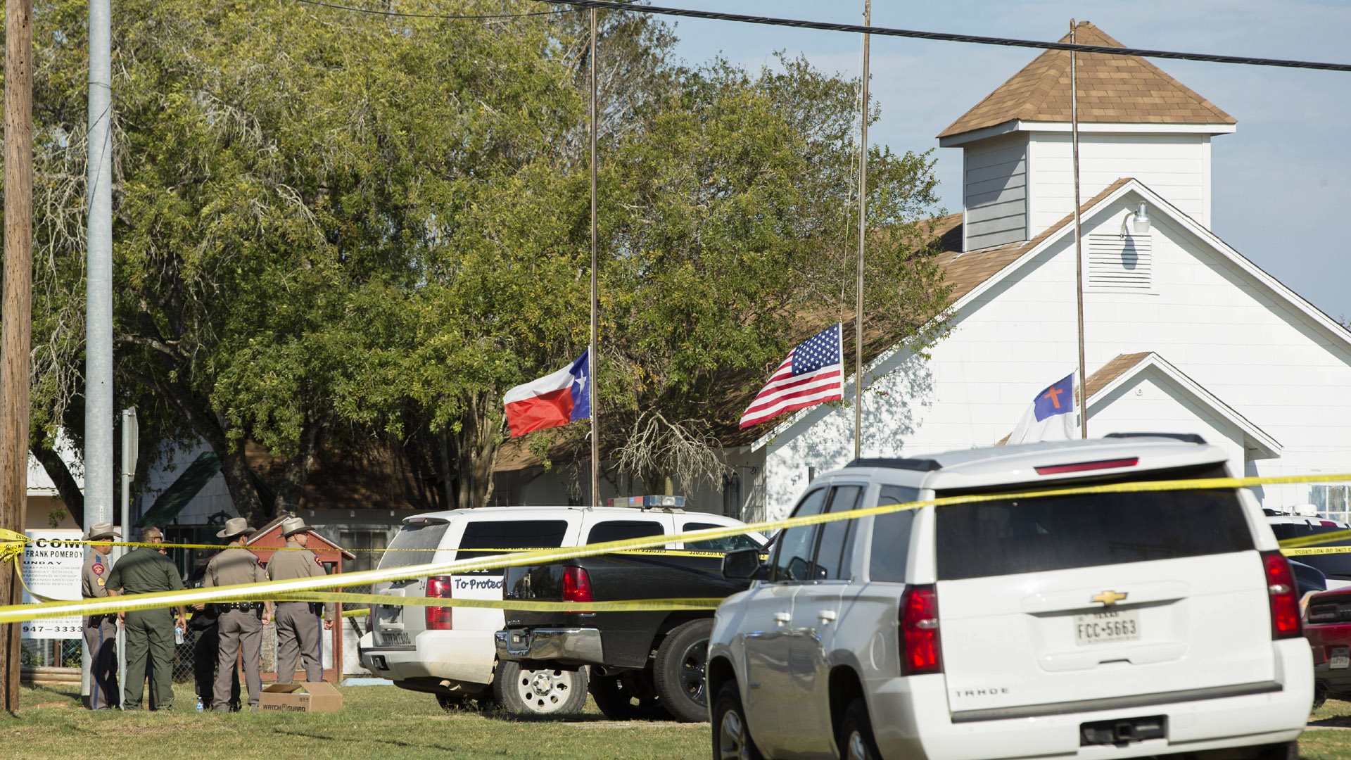Texas church shooting, shot of scene, Sutherland Springs, First Baptist Church53826118-159532