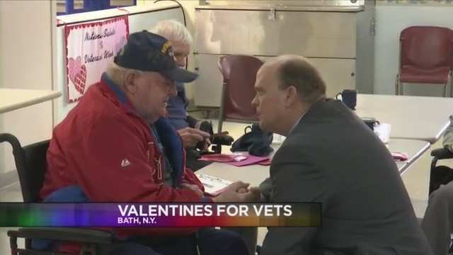 BATH, N.Y. (18 NEWS) - The congressman hands out handmade Valentine's Day cards by local students and individually meets with veterans.