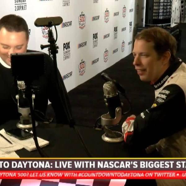 Keselowski cracks jokes, barks like dog after hijacking Daytona interview