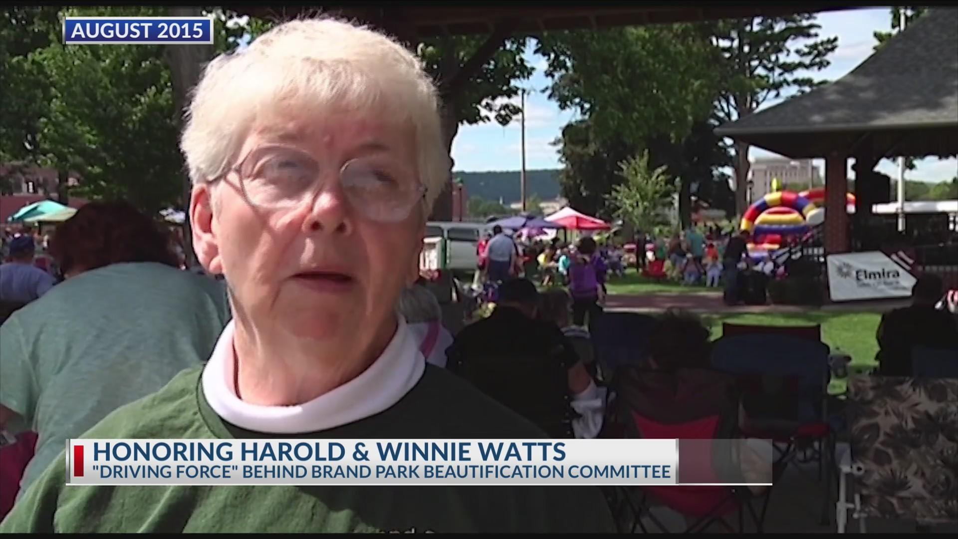 Honoring lifelong Elmira residents for service to community with naming of Brand Park Bandstand