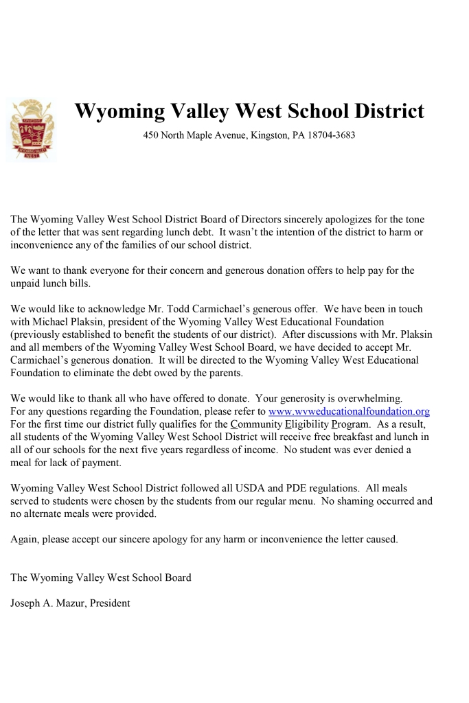 wvw lunch letter apology