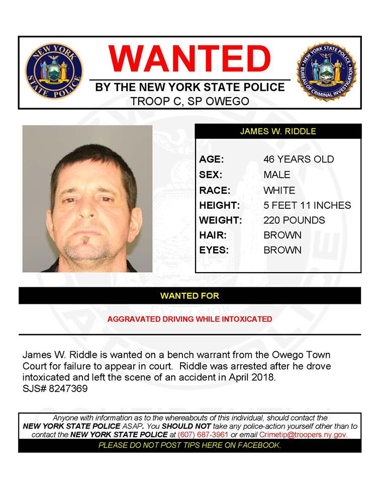 James W  Riddle wanted by New York State Police | WETM