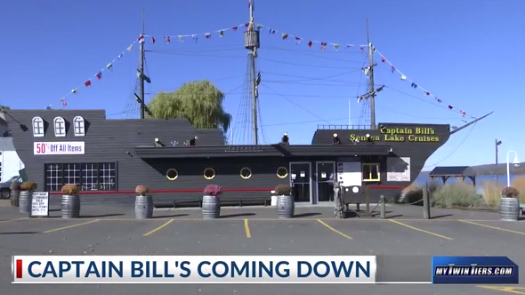 Captain Bill's building closing in Watkins Glen