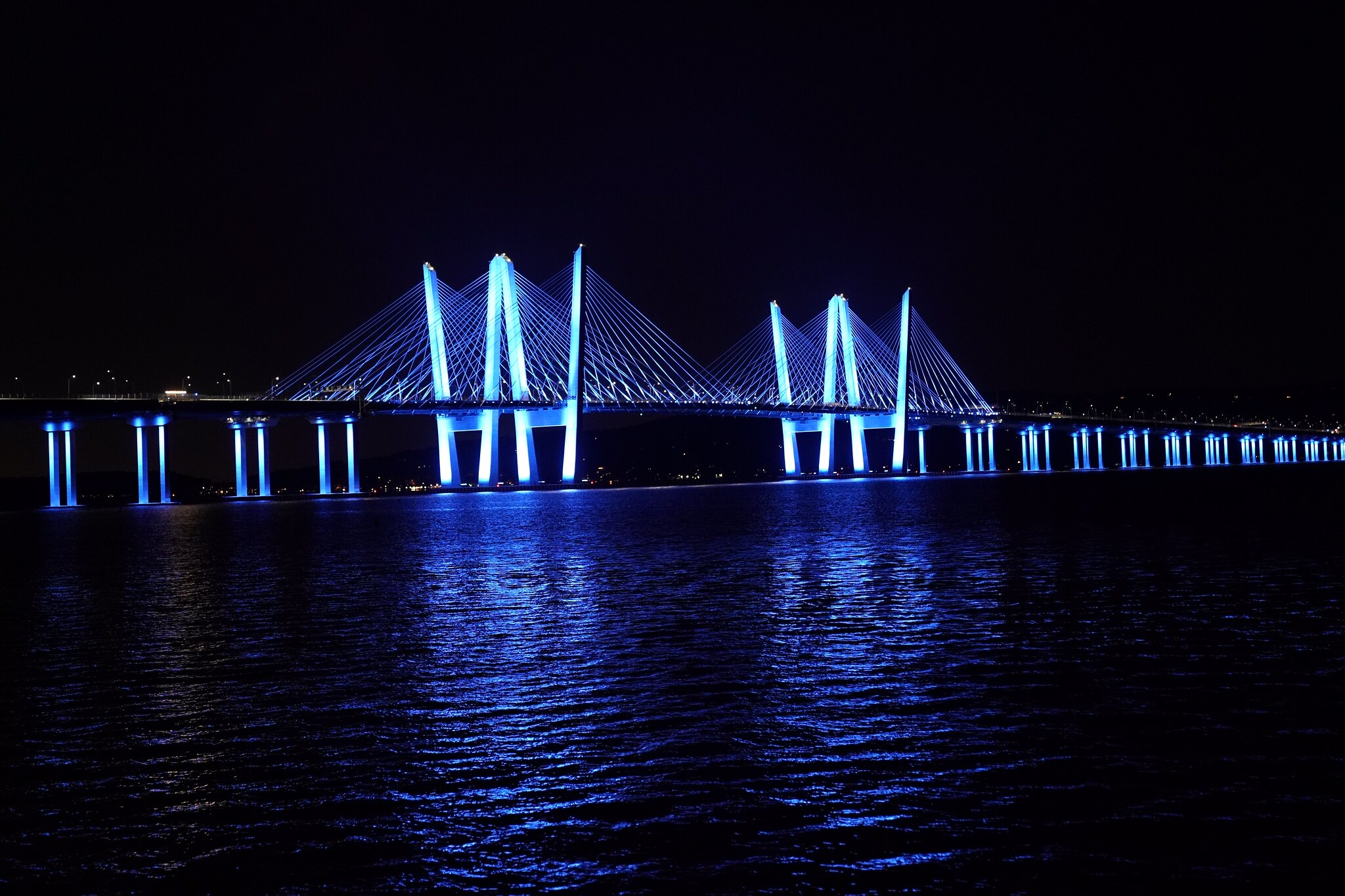 Governor Mario M Cuomo Bridge Lit In Blue To Honor The Former Governor