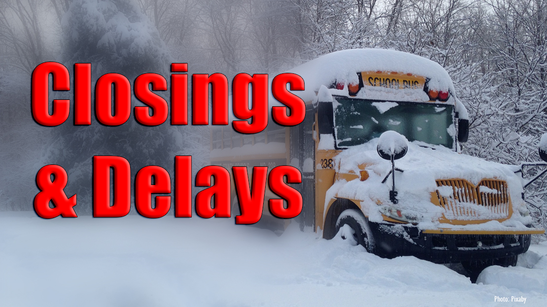 Picture with school bus in snow Closing and delays credit to Pixaby