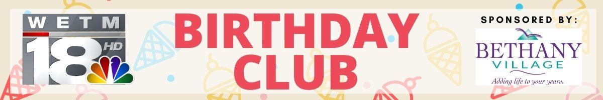 Birthday Club Header sponsored by Bethany Village