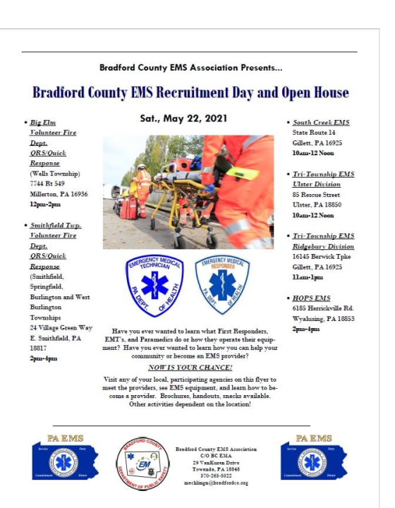 Bradford County EMS recruitment and Open House